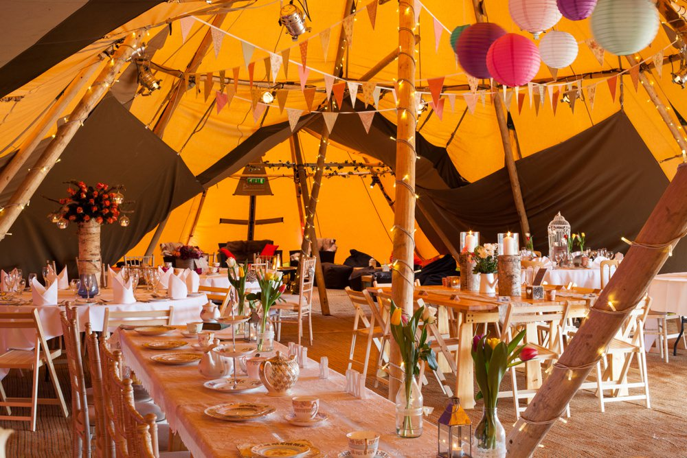Tipi dressed for open weekend