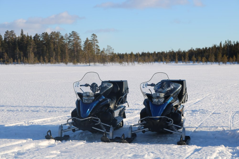 Snowmobiles our transport to the camp