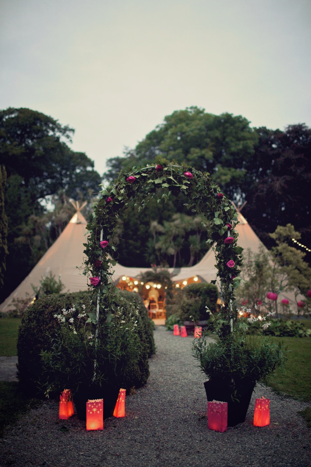 the tipis at dusk