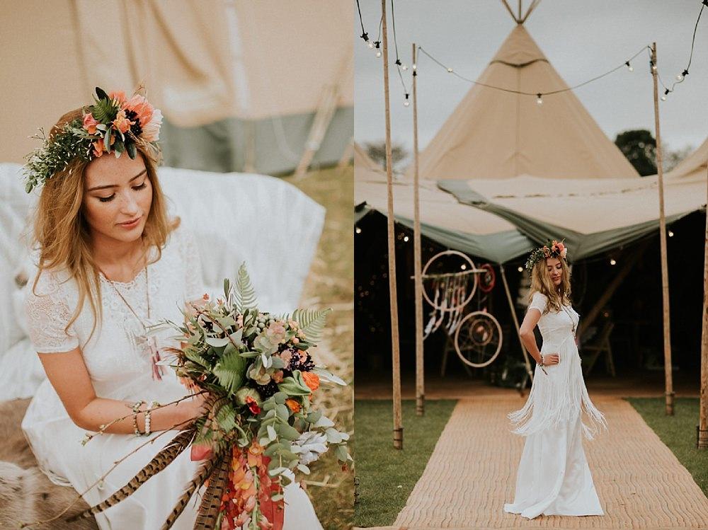 Boho bride with dreamcatchers and tipi