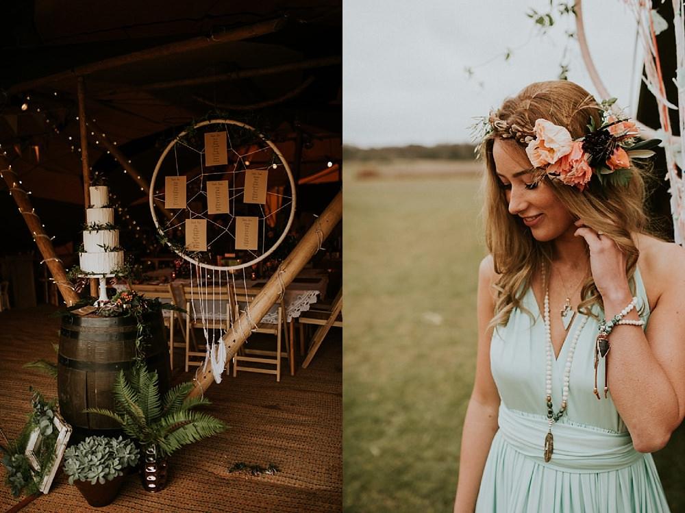 boho details and green wedding dress