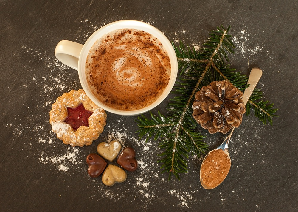 Gorgeous festive hot drinks and cookies